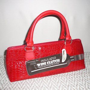 Insulated Wine Bottle Clutch Tote Bag Red NWT